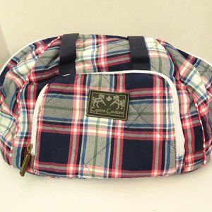 EQUINE COUTURE Amber Hat Bag NEW Blue Pink Plaid